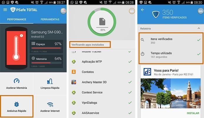 Verificação antivírus no celular com o PSafe Total (Foto: Reprodução/Barbara Mannara)