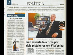 Arquivo: Juiz Alexandre Martins é morto a tiros em Vila Velha, no Espírito Santo (Foto: Reprodução/ A Gazeta/ 25/03/2003)