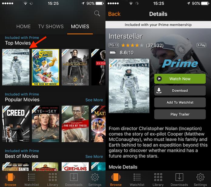 Opções para um filme ou série do Amazon Prime Video (Foto: Reprodução/Marvin Costa)