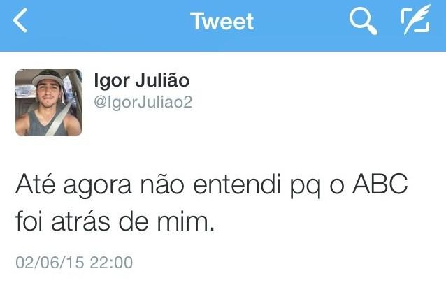 Igor Julião, lateral-direito do ABC - Twitter