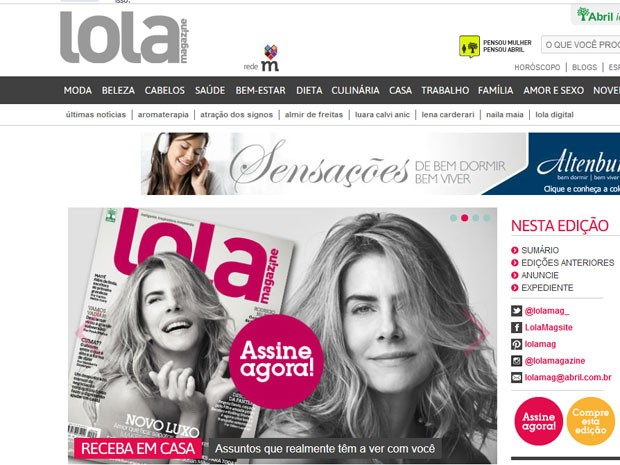 Site da revista Lola ainda convidava nesta quinta-feira (1) os leitores a assinarem a publicação (Foto: Reprodução)