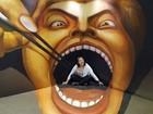 Visitante interage com pintura 3D e parece ser engolida por obra