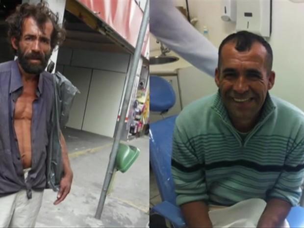 Claudiocir quando morava na rua e (à esq.) e quando voltou para a sua família (Foto: BBC)