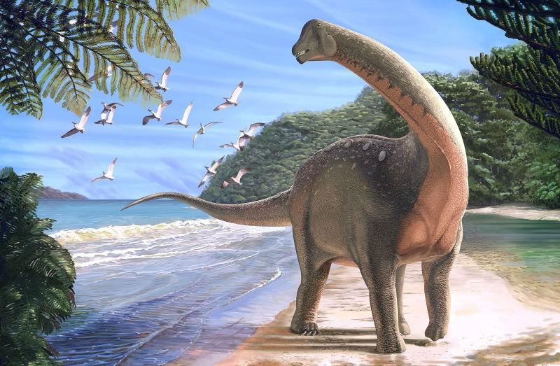 Concepção artística do recém descoberto Mansourasaurus. (Foto: Carnegie Museum of Natural History / Andrew McAfee)