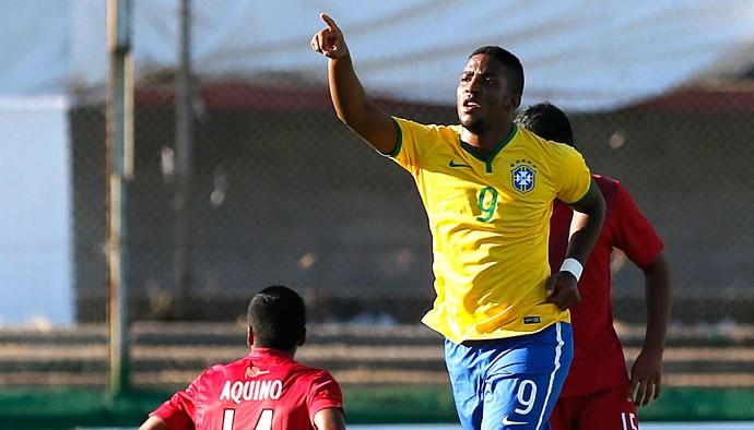 Thalles comemora gol do Brasil contra o Peru (Foto: Agência Reutes)