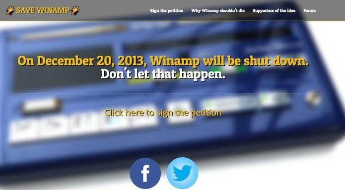 """Projeto """"Save Winamp"""" reúne assinaturas para impedir o fim do software. (Foto: Reprodução / Save Winamp) (Foto: Projeto """"Save Winamp"""" reúne assinaturas para impedir o fim do software. (Foto: Reprodução / Save Winamp))"""