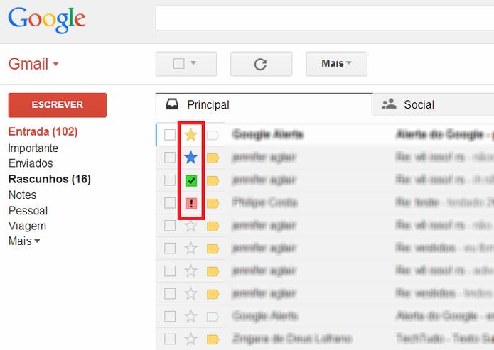 Estrelas do Gmail (Foto: Reprodução/ Marcela Vaz)