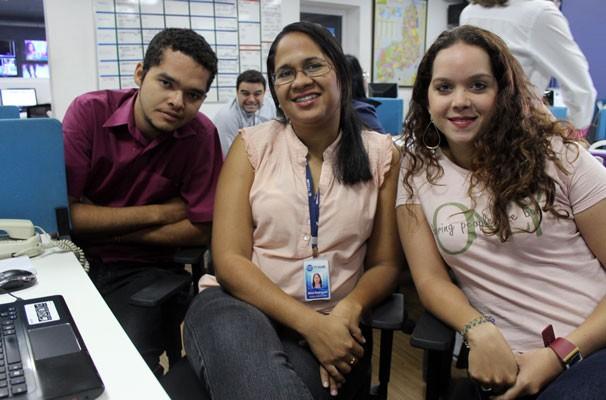 Wenner Tito; Aline Rodrigues e Náyra Macedo do Ge Piauí (Foto: Katylenin França)