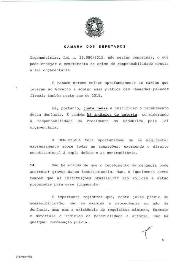 20 - Leia íntegra da decisão de Cunha que abriu processo de impeachment (Foto: Reprodução)