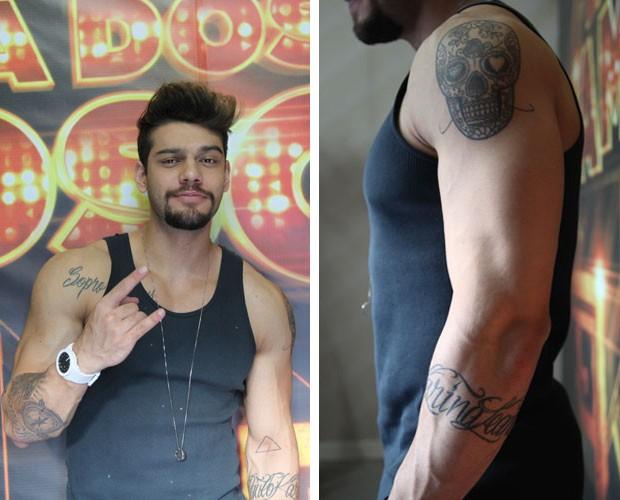 Lucas Lucco é apaixonado por tatuagem e não descarta novo rabisco em lugar inusitado (Foto: Domingão do Faustão/TV Globo)