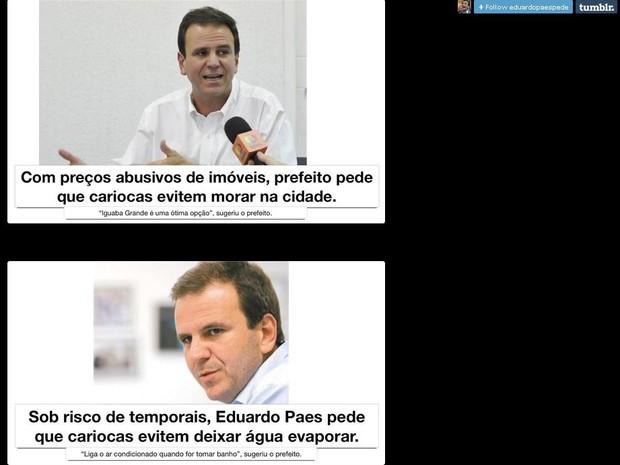 """Prefeito virtual """"pede"""" que cariocas evitem morar no Rio (Foto: Reprodução/ Tumblr/ Evitem o Rio)"""