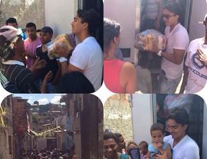 Marcelo Moreno distribuindo cestas básicas em uma comunidade carente próxima a Toca da Raposa I (Foto: Reprodução/Facebook)