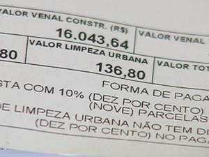 Cobrança é maior que valor do IPTU (Foto: Reprodução / TV TEM)