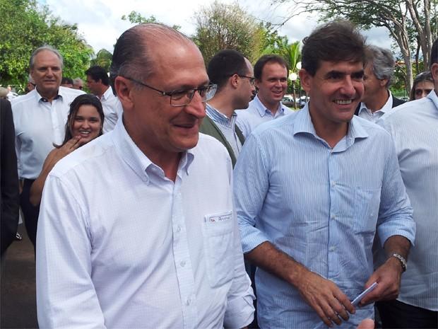 Alckmin esteve acompanhado do presidente estadual do PSDB, o deputado Duarte Nogueira (Foto: Rodolfo Tiengo/G1)
