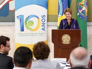 Dilma Rousseff discursa durante a 40ª Reunião Ordinária do Pleno do Conselho de Desenvolvimento Econômico e Social (Foto: Roberto Stuckert Filho/PR)