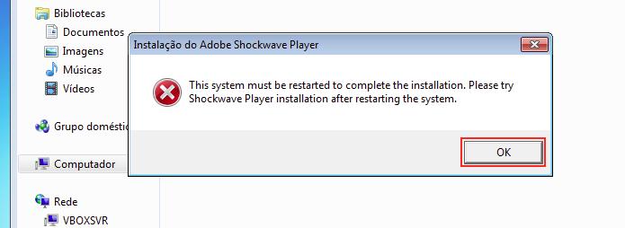 Instalador pedindo para reiniciar o sistema antes de iniciar a atualização (Foto: Reprodução/Edivaldo Brito)