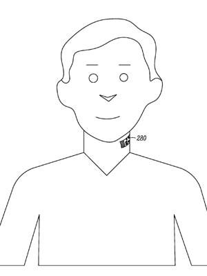 Imagem de patente pedida pela Motorola, do Google, indica tatuagem eletrônica feita no pescoço para funcionar como microfones de celulares. (Foto: Divulgação/USPTO)