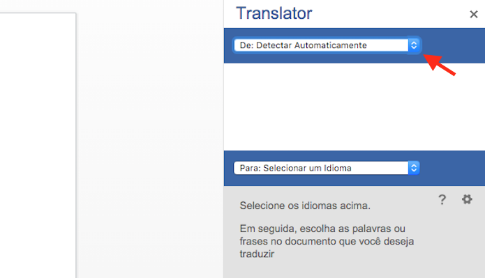 Configurando um idioma de entrada no tradutor de texto do Word Online (Foto: Reprodução/Marvin Costa)
