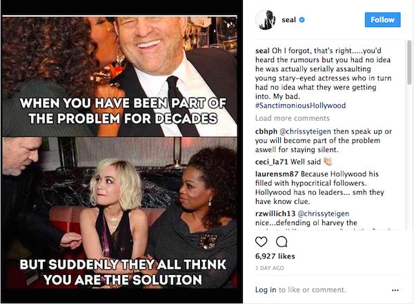 A crítica e a montagem compartilhada por Seal contra Oprah Winfrey (Foto: Instagram)