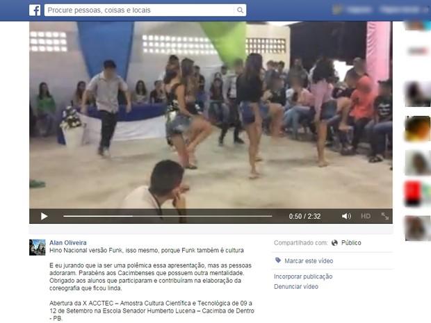 Alunos de escola de Cacimba de Dentro dançam funk do Hino Nacional (Foto: Reprodução/Facebook)