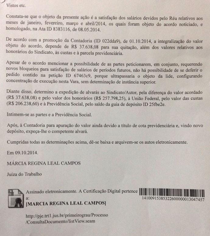 documento Ministério do trabalho Botafogo (Foto: Vicente Seda)