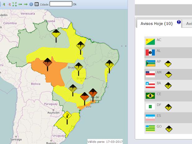Risco de tempestades abrange mais de 70 cidades no Tocantins (Foto: Reprodução/Inmet)