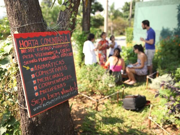 Moradores fazem piquenique em horta comunitária no Bairro City Lapa (Foto: Glauco Araújo/G1)