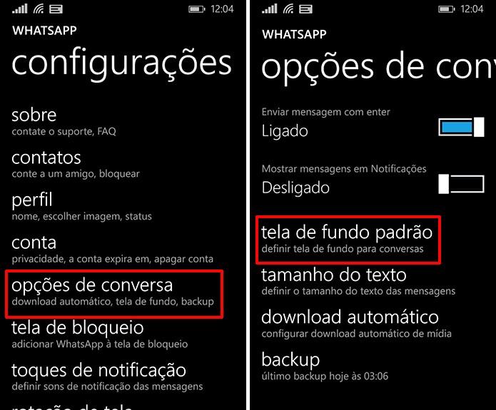 Plano de fundo no WhatsApp para Windows Phone podem ser adicionados nas opções de conversas (Foto: Reprodução/Elson de Souza)