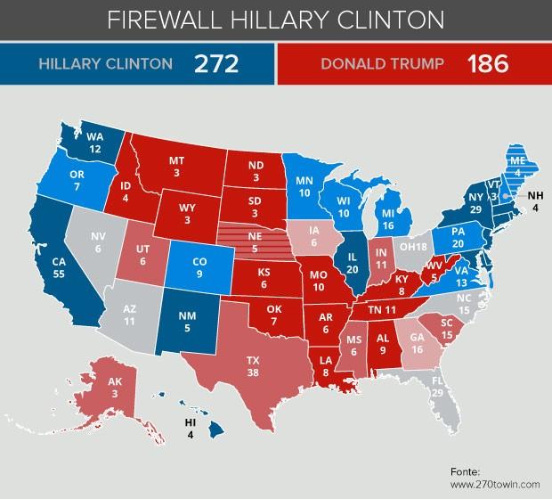 Mapa eleição firewall Hillary
