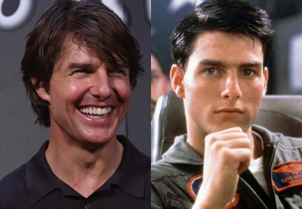 Tom Cruise atualmente e em 'Top Gun: Ases Indomáveis' (1986) (Foto: Ken Ishii/Getty Images e Reprodução)