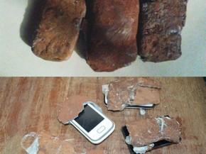 Celulares disfarçados de pedra foram arremessados para dentro do presídio de Cacoal (Foto: Fabiano Cardoso/Arquivo Pessoal)