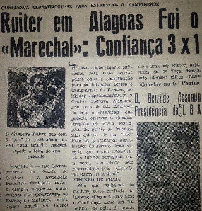 Confiança x CSA pela Taça Brasil de 1964, no Mutange, em Maceió (Foto: Gazeta de Sergipe)
