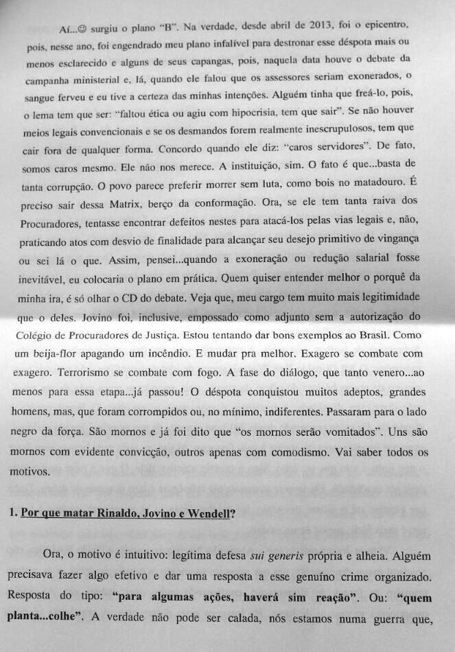 Ministério Público do RN divulga carta de atirador (Foto: Divulgação/MPRN)