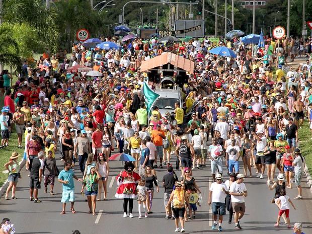 Foliões acompanham bloco do Pacotão durante o carnaval 2015 (Foto: Vianey Bentes/TV Globo)