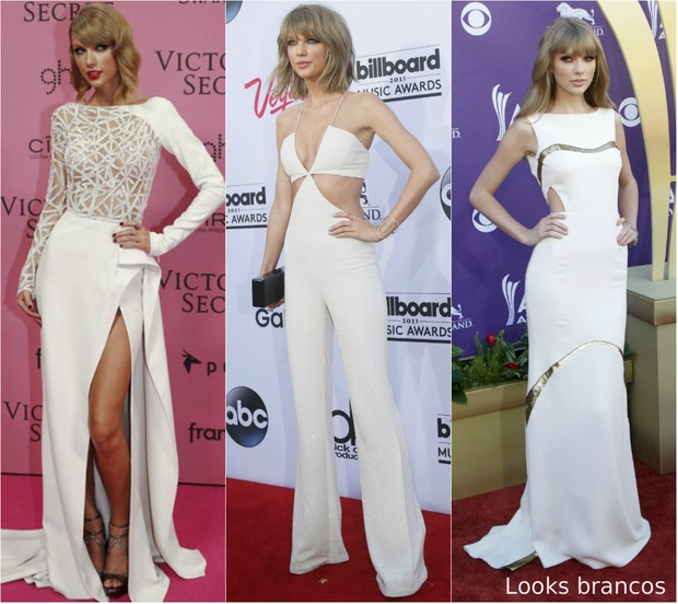 915df2b8652bb Taylor Swift é fã do look branco para riscar o tapete vermelho (Foto  Getty
