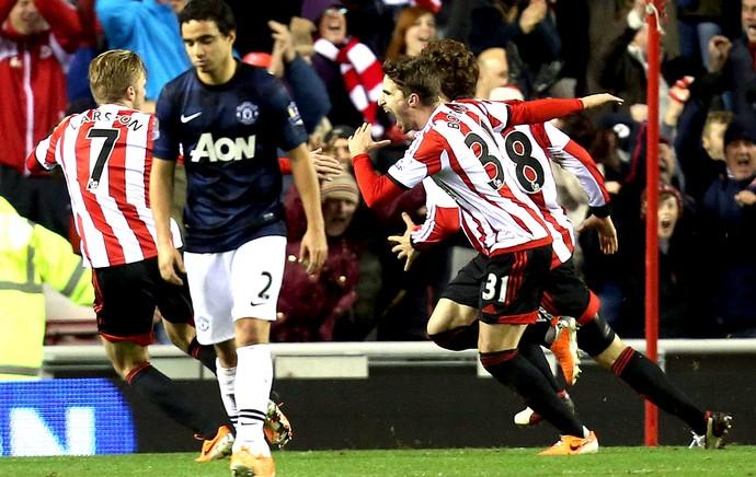 Fabio Borini comemoração jogo Manchester United contra Sunderland (Foto: AP)