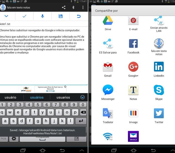 App para Android converte voz em texto e permite realizar correções. Usuário pode repetir gravação ou corrigir o texto manualmente, acrescentando pontuações e parágrafo. Foto: Reprodução/Luciana Vieira.