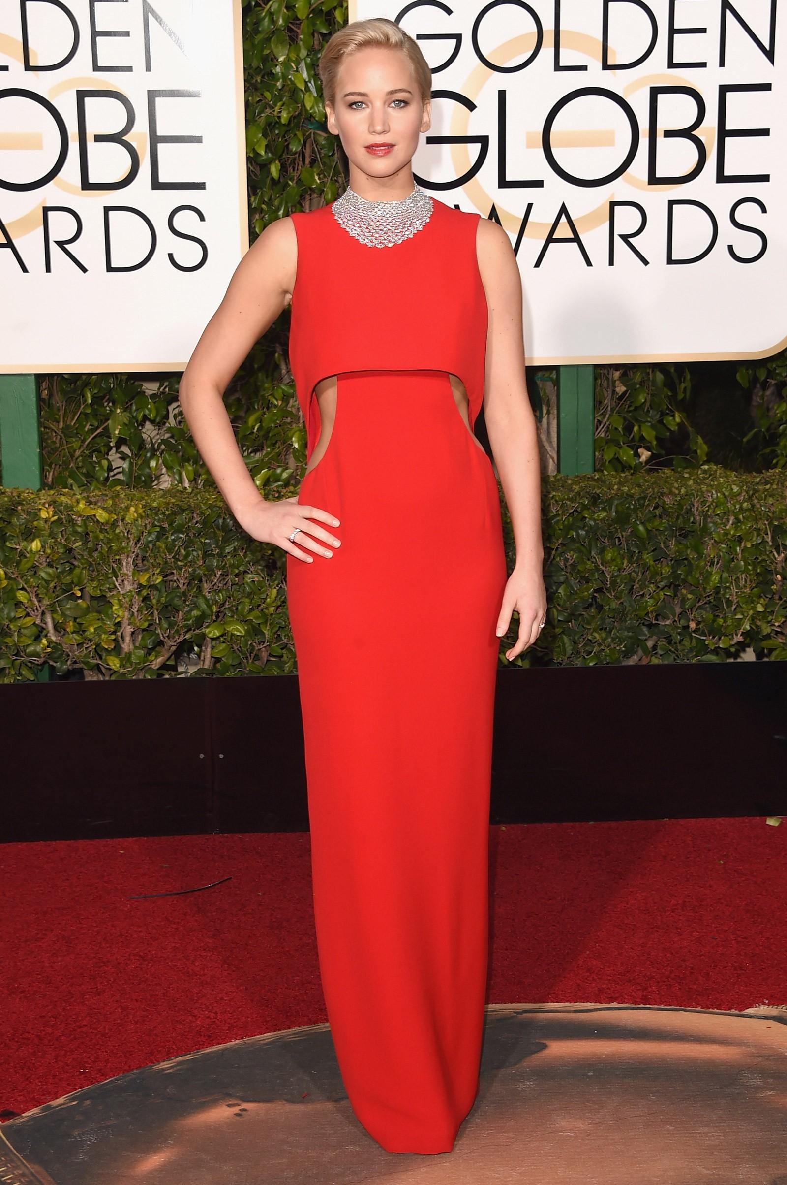 2015 - melhor atriz de comédia ou musical para Jennifer Lawrence, que vestiu Dior (Foto: Getty Images)