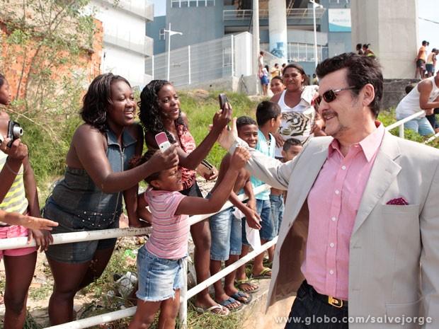 Antonio Calloni também foi recebido com carinho pelo público (Foto: Salve Jorge/TV Globo)