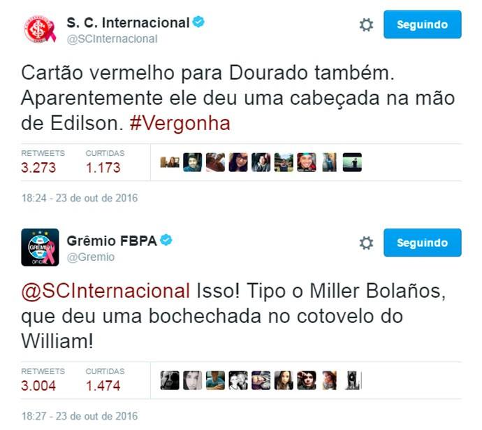 Twitter Grêmio e Inter (Foto: Reprodução)