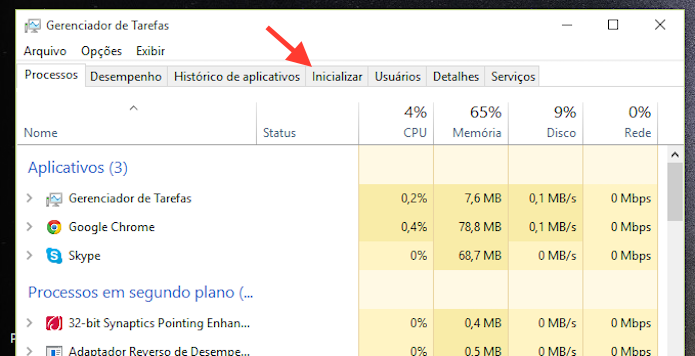 Acessando as opções de inicio do Windows 10 do Gerenciador de Tarefas (Foto: Reprodução/Marvin Costa)