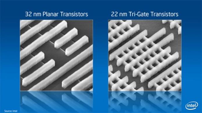 Na esquerda, transistores de 32 nanômetros e, na direita, de 22 (Foto: Divulgação/Intel)
