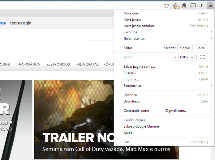 Acesse o menu do Chrome (Foto: Thiago Barros/Reprodução)