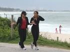 Cleo Pires e Cissa Guimarães gravam 'Salve Jorge' em orla de praia do Rio