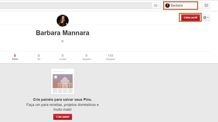 Depois é possível editar as informações do perfil do Pinterest (Foto: Reprodução/Barbara Mannara)