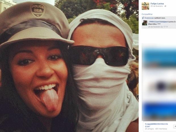 Elen em foto exibida em página da rede social de Felipe Lavina (Foto: Reprodução / Facebook)