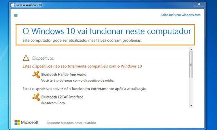 Confira no topo se o seu computador tem suporte para Windows 10 (Foto: Reprodução/Barbara Mannara)