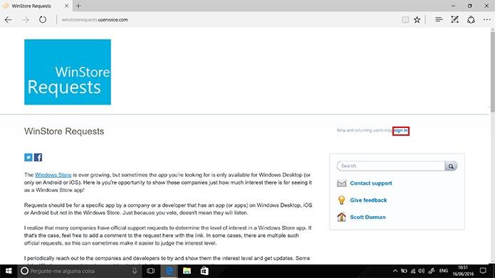 Usuário precisa se cadastrar para solicitar app para Windows 10 (Foto: Reprodução/Elson de SouzA)