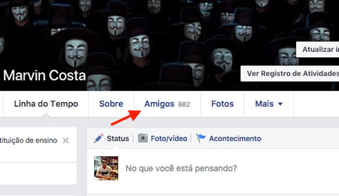 Caminho para acessar a lista de amigos no Facebook (Foto: Reprodução/Marvin Costa)