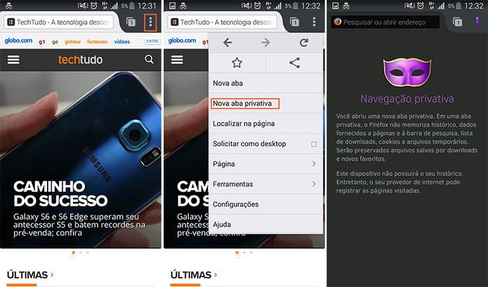 Acessando a guia privada por meio do navegador Firefox (Foto: Reprodução/Barbara Mannara)